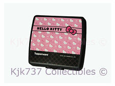 1 NEW HELLO KITTY TUPPERWARE HINGED SANDWICH KEEPER / LUNCH CONTAINER PINK BLACK