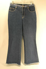 Gasoline Women Blue Fringed Cuff Jeans Size 30 Wide Leg Excellent Used Condition