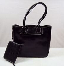 Faux Croc Black Purse /Magnetic Snap Closure & Detachable Wallet NEW #140318-04