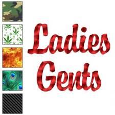 Ladies Gents Decal Sticker Choose Pattern + Size #2549