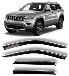 Chrome Trim Window Visors Guard Vent Deflectors For Jeep Grand Cherokee 2010-