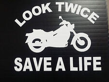 Look Twice Save A Life Vinyl Decals Bumper Stickers 5.5x6.9 Harley