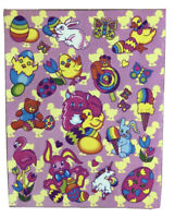 Vintage Lisa Frank Easter Sticker Sheet Pink S138 '80s Markie Unicorn