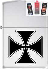 Zippo ZCB62204 Iron Cross Lighter + FUEL FLINT & WICK GIFT SET