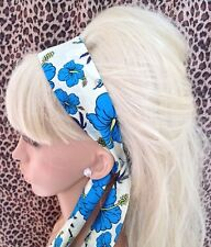 BLUE ORCHID TROPICAL PRINT COTTON HEAD SCARF HAIR BAND SELF TIE BOW 50s RETRO