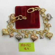 Gold Authentic 18k saudi gold tri color heart danggling bracelet,,y