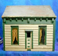 Antique 1900s Wood Dollhouse Doll House Cottage Glass Windows, All Orig Paint MK