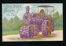 Greetings Birthday embossed violet Flower steam roller + bird dove PPC c1906
