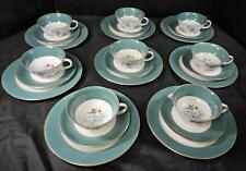 24 Piece Royal Bayreuth Dessert Set * Teal Green Gold Lily of the Valley