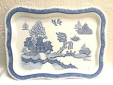 Rare Vintage Antique Blue Willow Large Metal Tray