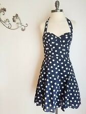 BETSEY JOHNSON Size 6 Navy Blue and White Polka Dot Halter Dress Fit and Flare