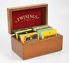 Twinings Luxury Golden Oak/Red Lined Lid 2 compartment Tea Chest Caddy 24 Teas