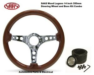 LAYLAND MINI SAAS 14 Inch 350mm Wood Grain Steering Wheel & Boss Kit Combo ADR