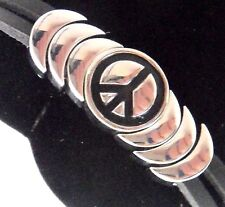 "Epic Spirit Bracelets Wheeler Peace Leather & Pewter Clasp Magnetic 7.5"" wcb 714"