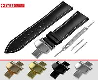Fits CITIZEN Flat Black Genuine Leather Watch Strap Band For Clasp Buckle Pins