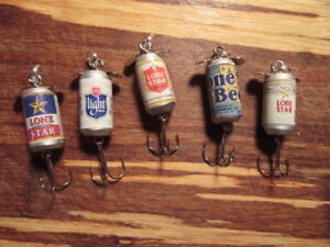 Lone Star & Texas Light Beer 5 Different Promotional Spinning Fishing Lures