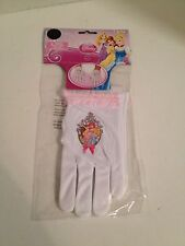 Disney Princess Gloves White With Pink Ruffle and Princess Applique NEW