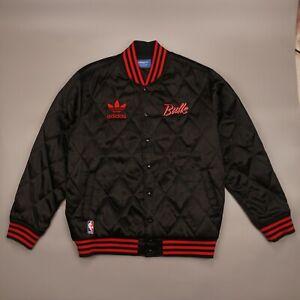 Chicago Bulls NBA ADIDAS Black Satin Jacket Snap Button Bomber Adult Size XXL