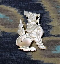 "Antique Victorian Carved Mother of Pearl Chinese Foo Dog Griffin Pin Brooch 2"" H"