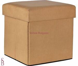 Small Stone Suede Effect Ottoman - Storage Unit Blanket Box Stool Seat