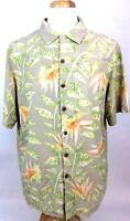 Hawaiian Silk Mens Shirt L Large Floral Aloha Tan Green Coconut Button Front P11