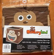2 New Fabric Monkeyland Monkey Storage Bins Organizer brown collapsible tote