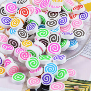 Lot of (x40) Polymer Clay Marshmallows Swirl Pattern Cabochons Slime Charms 15mm