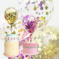 Dessert Mini Birthday Straw Ribbon Cake Topper Insert Latex Balloon Confetti