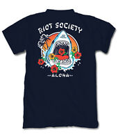 Riot Society Men's Short Sleeve T Shirts - Shark Aloha, Navy