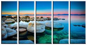 Sunset beach prints on canvas framed 5 panel canvas print sunset wall art prints