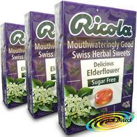 3x Ricola Elderflower Swiss Herbal Drops Lozenges Sweets Sugar Free 45g