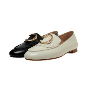 New Women's Round Toe Slip On Loafers Shoes Flat Leather Flats Walk Shoes size