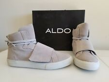 NEW ALDO Men's Shoes Leather sneaker, Color: Light Grey, Size 9.5 VERY NICE NWB