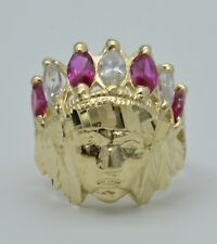 Real 14K Yellow Solid Gold Men's  Indian Head Red CZ gem stones Ring