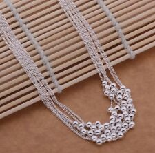 Stunning 925 Sterling Silver Bead Pendant Charm Strand Necklace Chain Jewelry