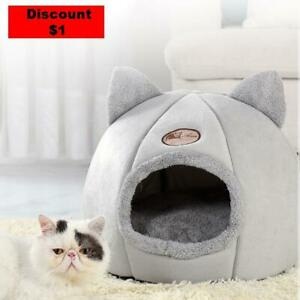 Upholstered bed for cats and small dogs A heated and covered cave bed