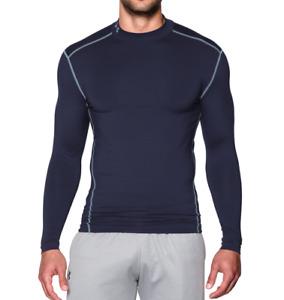 Under Armour UA Men's ColdGear Compression Long Sleeve Mock Shirt - Navy - New