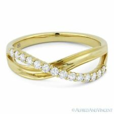 0.30ct Round Cut Diamond Right-Hand Overlap Loop Fashion Ring in 14k Yellow Gold