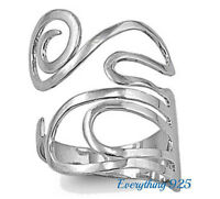 Sterling Silver 925 PRETTY SCROLL DESIGN RING 38 MM
