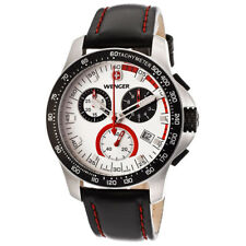 WENGER 70791 MEN'S BATALLION FIELD CHRONOGRAPH BLACK LEATHER WATCH