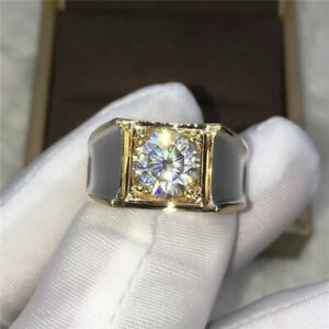 2ct Moissanite Ring for Man Brilliant Solid 14K Two Tone Gold Gentle Men Ring