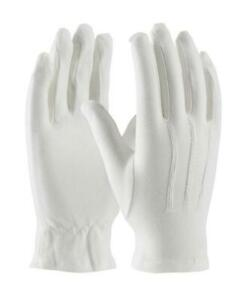 1 Pr Premium White Cotton Parade Tuxedo Honor Guard Formal Gloves - MENS LARGE