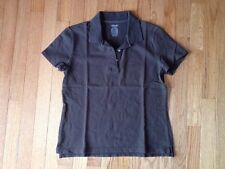 Cherokee Relaxed Fit Tagless Ultimate Short Sleeve Polo Shirt Top in Brown Sz XS