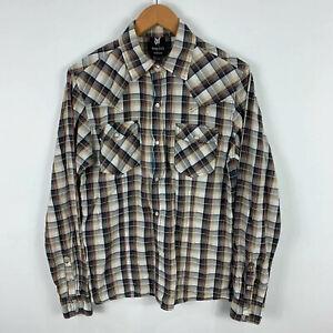 Dangerfield Mens Shirt Size M Slim Snap Button Plaid Long Sleeve 16.13