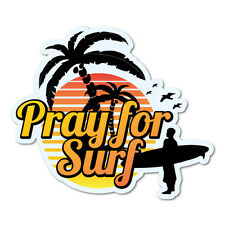 Pray For Surf Sunset Surfing Sticker Decal Surfboard Vintage Skate Surf