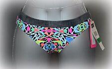 Coco Rave Bikini Bottom Size Large L Black Multi Geo Banded Classic Swim Pant