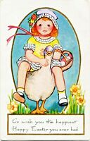 Whitney Art Deco Easter~LIL GIRL w/ BASKET OF COLORED EGGS RIDES GOOSE~Postcard