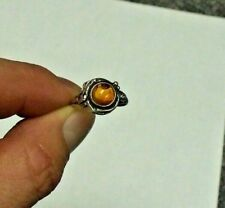 "~~  ""STERLING SILVER""  RING AMBER / GOLD STONE  925  OLD JEWELRY  ~~"