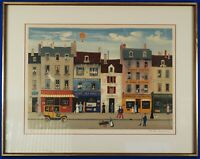 Michel Delacroix Hand Signed Numbered Untitled Street Scene Lithograph Framed