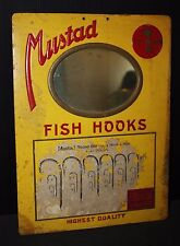 Fish hook vintage 38 sign MIRROR store advertising trade lure flies bait fishing